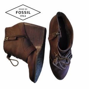 FOSSIL Charlene wedge lace up booties